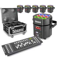 BeamZ BBP60 LED Uplighter Set with Charging Case, 6 Piece with DMX Lighting Controller
