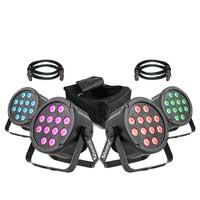 BeamZ SlimPar35 Par Wash Lights, Set of 4 with Case & Cables