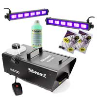 BeamZ ICE700 Fog Machine with 1L Fluid, UV Bars & Spiders Webs