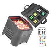 BeamZ BBP94 RGBAW-UV Battery Powered Par Light, Set of 6 & Case