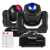 BeamZ Panther 70 LED Spot Moving Head Lights, Set of 2