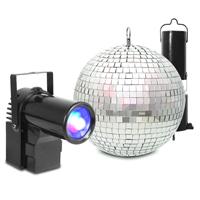 Mirror Ball 20cm with Battery Motor & 10W LED Spotlight