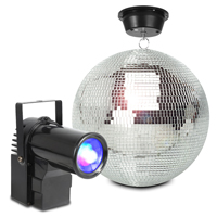 Glitter Mirror Ball 30cm with Motorr and 10W LED Spotlight