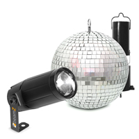 Mirror Ball 20cm with Battery Motor & 6W LED Spotlight