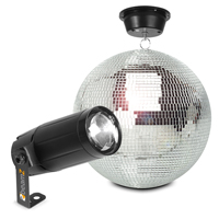 Glitter Mirror Ball 30cm with Motor and 6W LED Spotlight