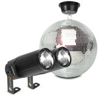BeamZ MB30 Glitter Mirror Ball 30cm with Motor & 6W LED Spotlights