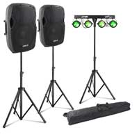 "Vonyx AP1200A 12"" Active PA Speaker Pair, Stands & Partybar11 Party Lighting"