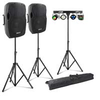 "Vonyx AP1200A 12"" Active PA Speaker Pair, Stands & Partybar9 Party Lighting"