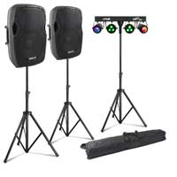"Vonyx AP1200A 12"" Active PA Speaker Pair, Stands & Partybar8 Party Lighting"