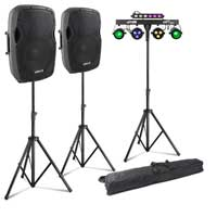 "Vonyx AP1200A 12"" Active PA Speaker Pair, Stands & Partybar10 Party Lighting"