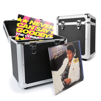 "2x PD LP 80x 12"" Vinyl Record Box Storage Flight DJ Case Stackable Media BLACK"