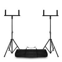 Vonyx Adjustable Double Speaker Stand Bracket with Transport Bag