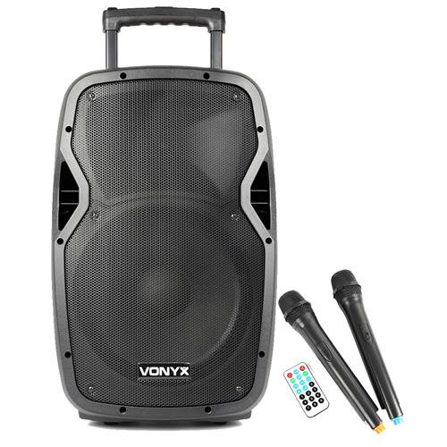 "Vonyx AP1200PA 12"" Bluetooth Active PA Speaker 600W + 2 Wireless Mics"