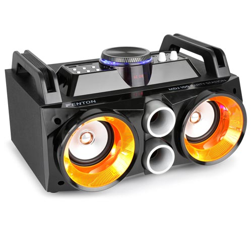 Fenton MDJ100 Battery Powered Boombox Partystation Bluetooth Speaker USB & Lights 100w