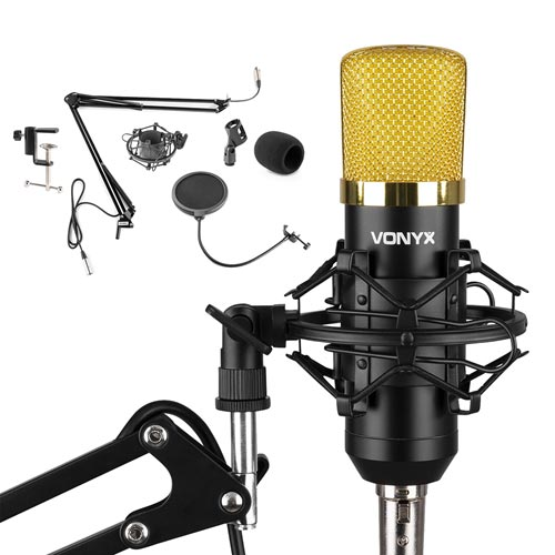 Vonyx CMS400B Studio Set / Condenser Microphone with Stand and Pop Filter