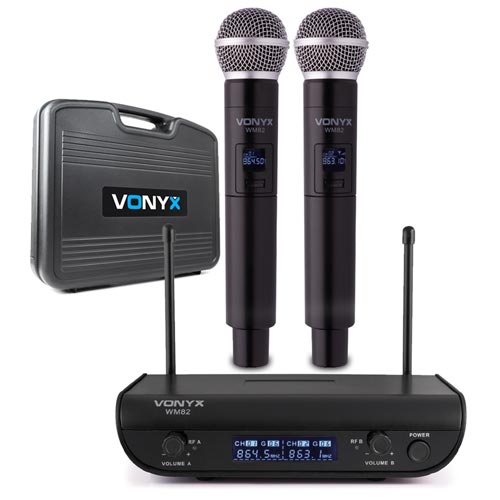 Vonyx WM82 Digital UHF 2 CH Wireless Microphone Set with 2 Handhelds