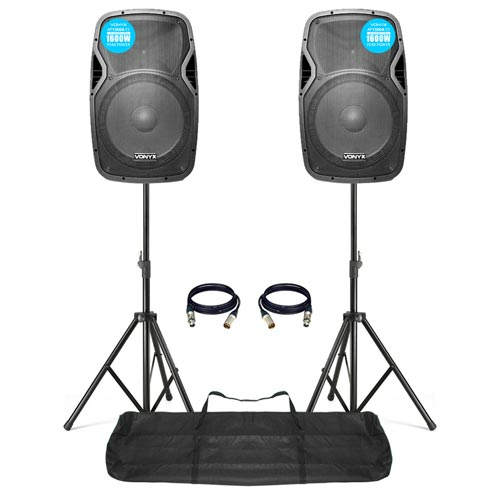 Vonyx AP1500A 15 inch Active Speakers with Stands 800W