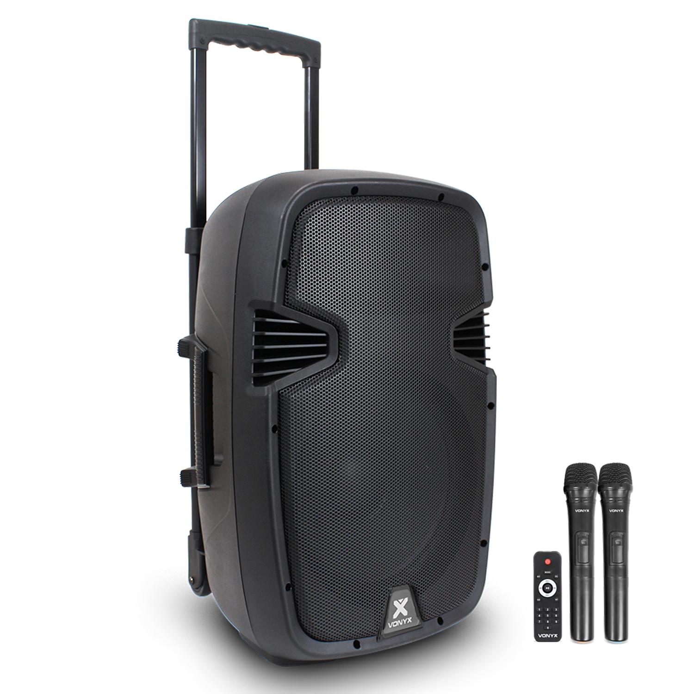 Vonyx SPJ-PA912 Portable PA System with Bluetooth + Wireless Mics