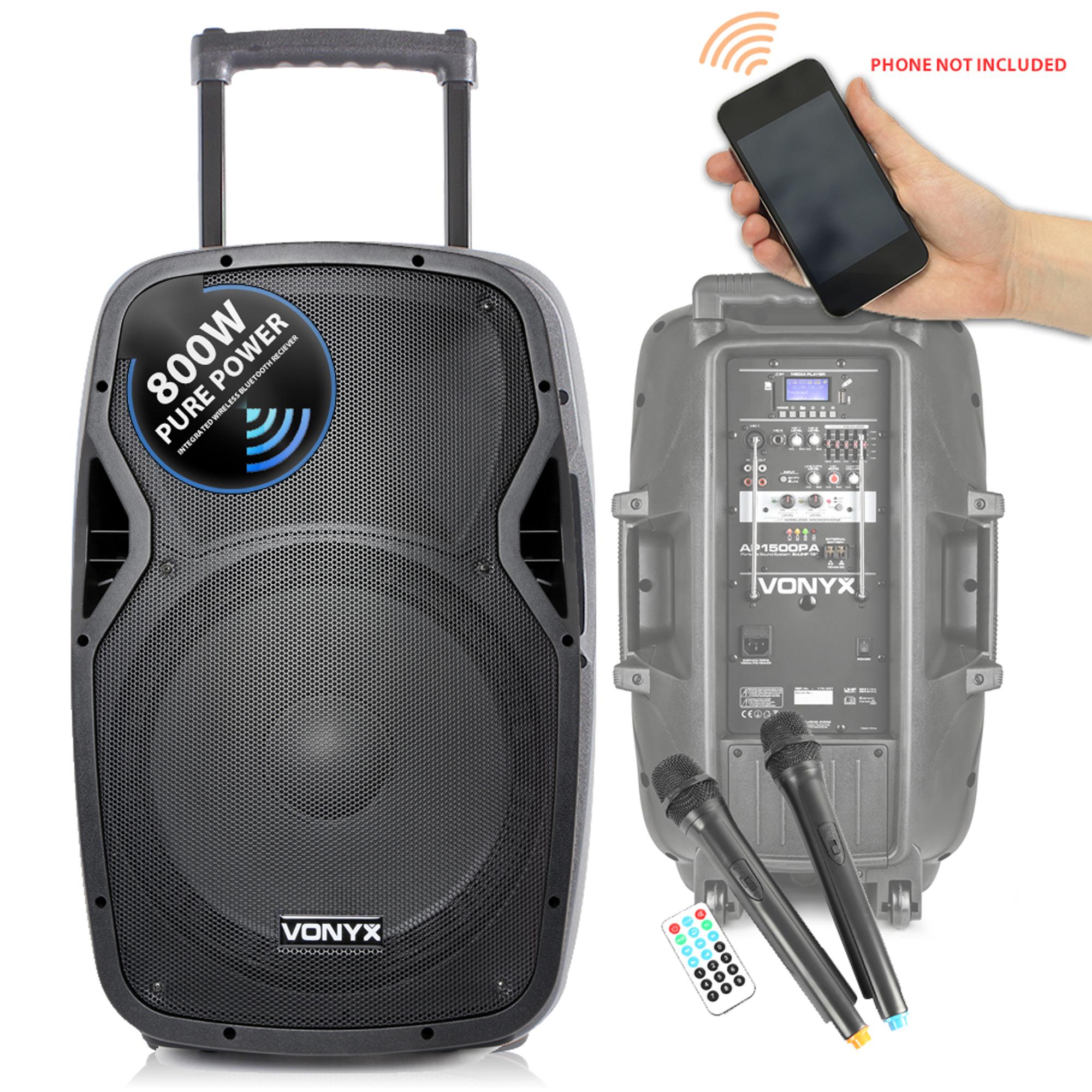 vonyx sound portable battery powered bluetooth pa system 800w wireless speaker 5055839176506 ebay. Black Bedroom Furniture Sets. Home Design Ideas