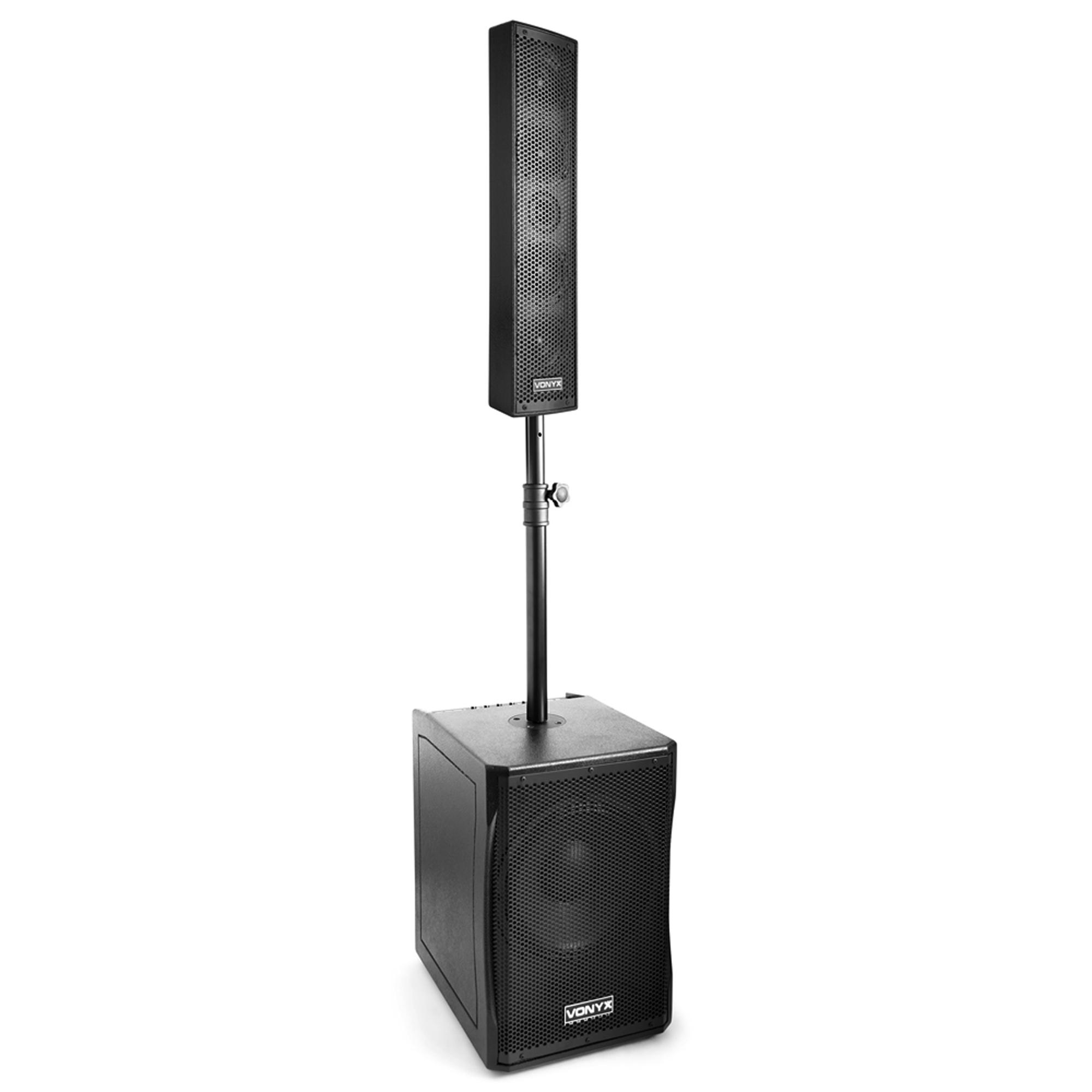 vonyx vx1200 2 way full range speaker subwoofer system dj pa column array 750w. Black Bedroom Furniture Sets. Home Design Ideas