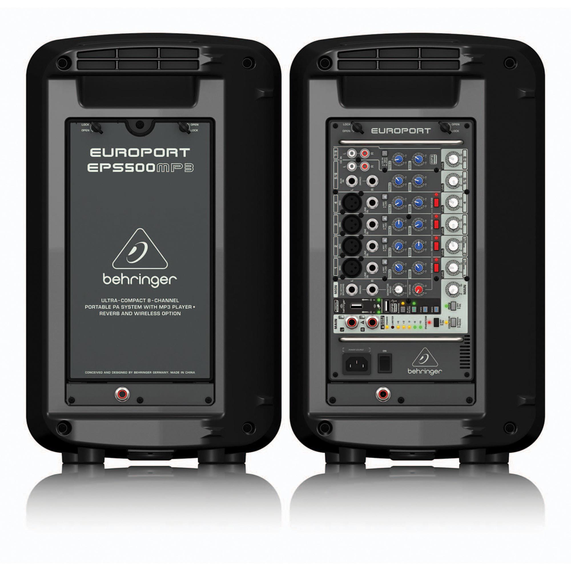 behringer europort eps500mp3 portable 8 channel pa system 500w. Black Bedroom Furniture Sets. Home Design Ideas