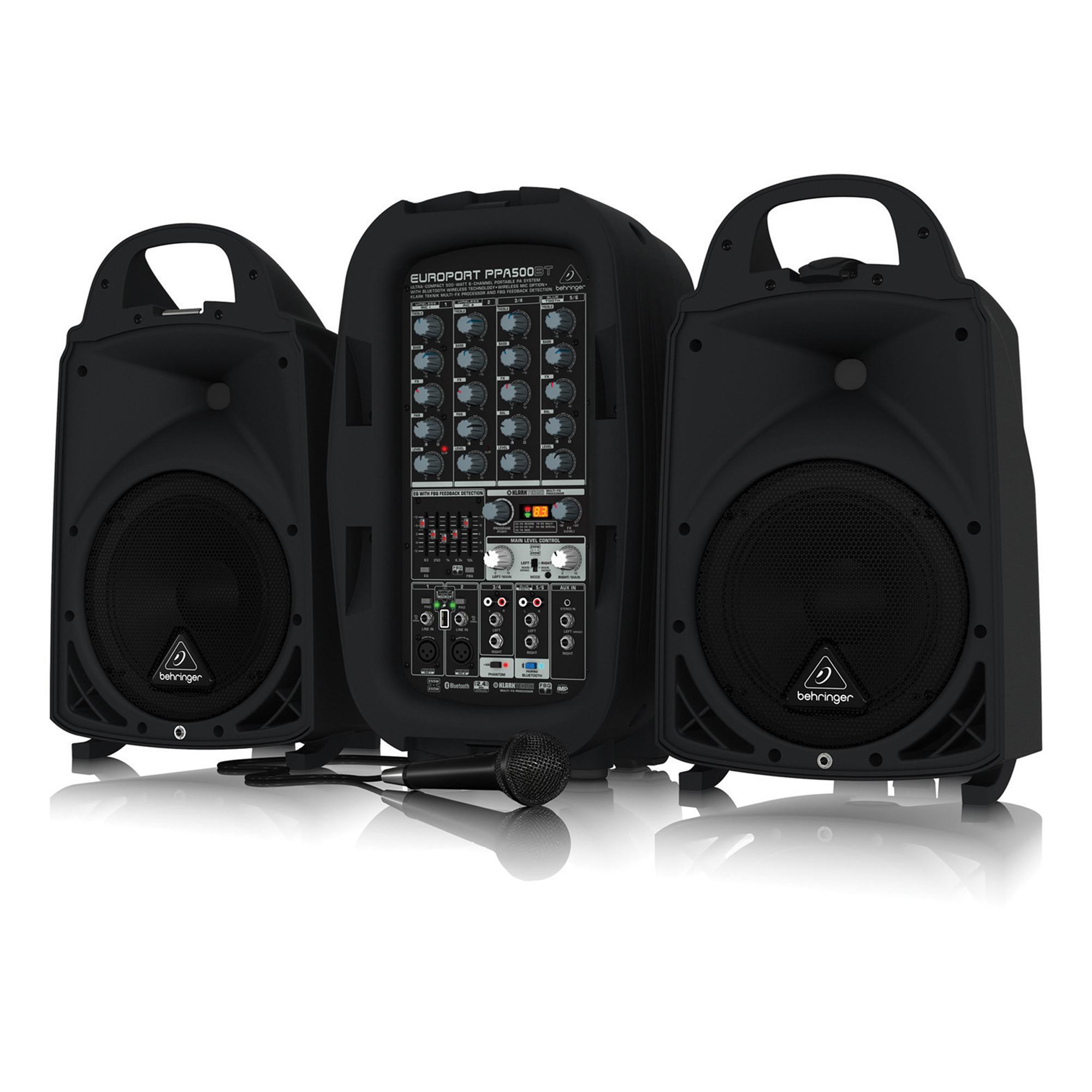 behringer europort ppa500bt portable 6 channel pa speaker system 500w. Black Bedroom Furniture Sets. Home Design Ideas