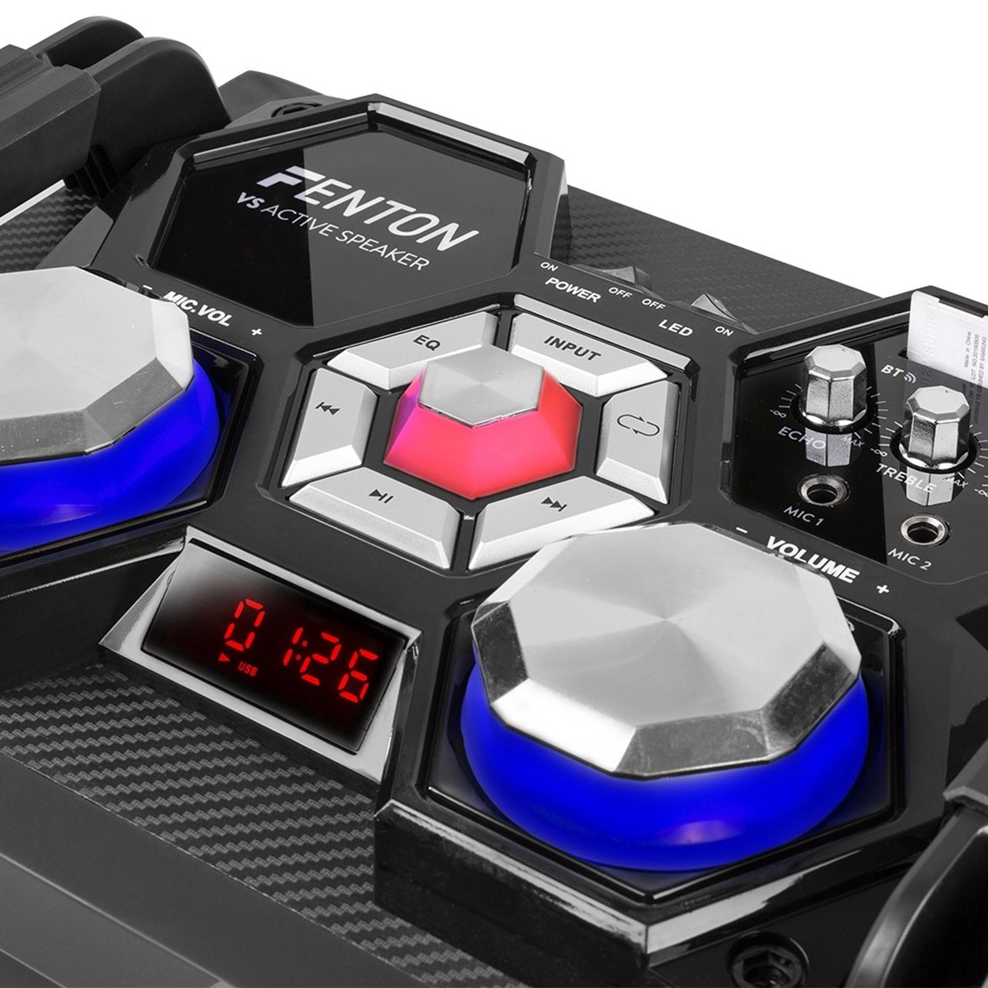 Fenton VS210 Bluetooth Disco Speaker Active Powered DJ Party Box with LED Lights 1600W