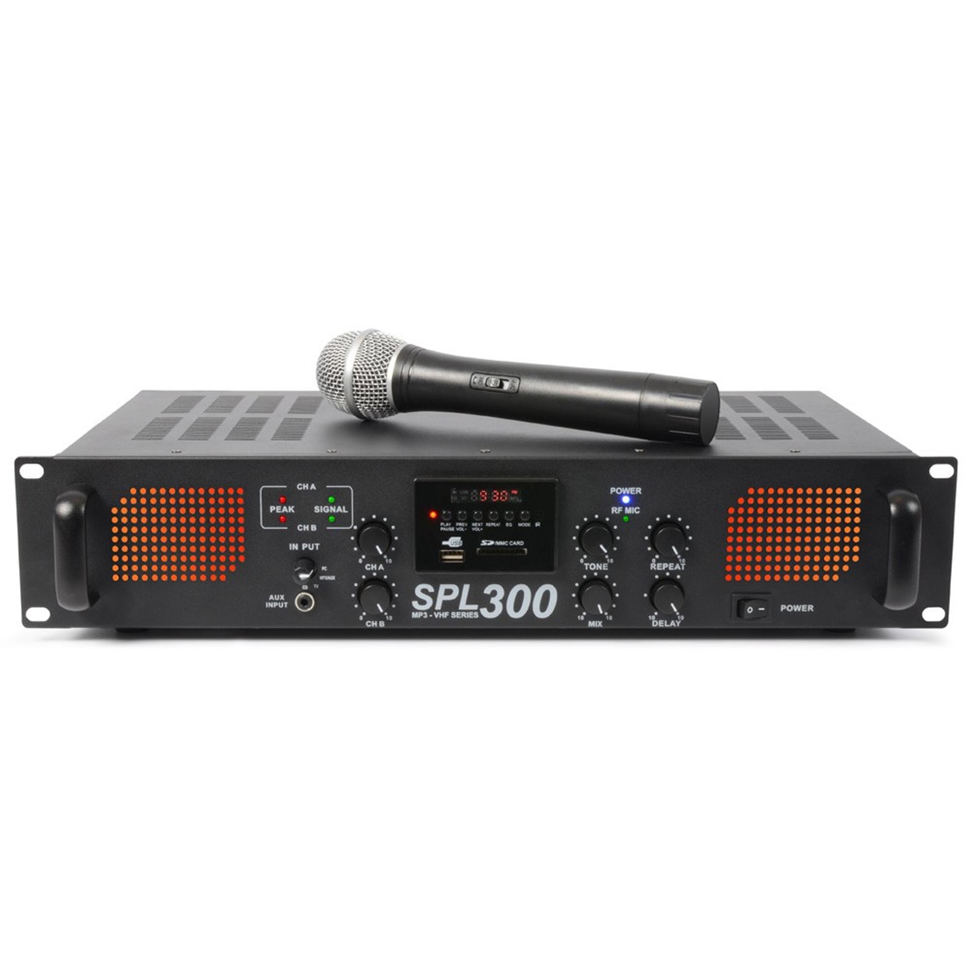 Skytec SPL-300VHF 2-Channel Power Amplifier with Wireless Microphone