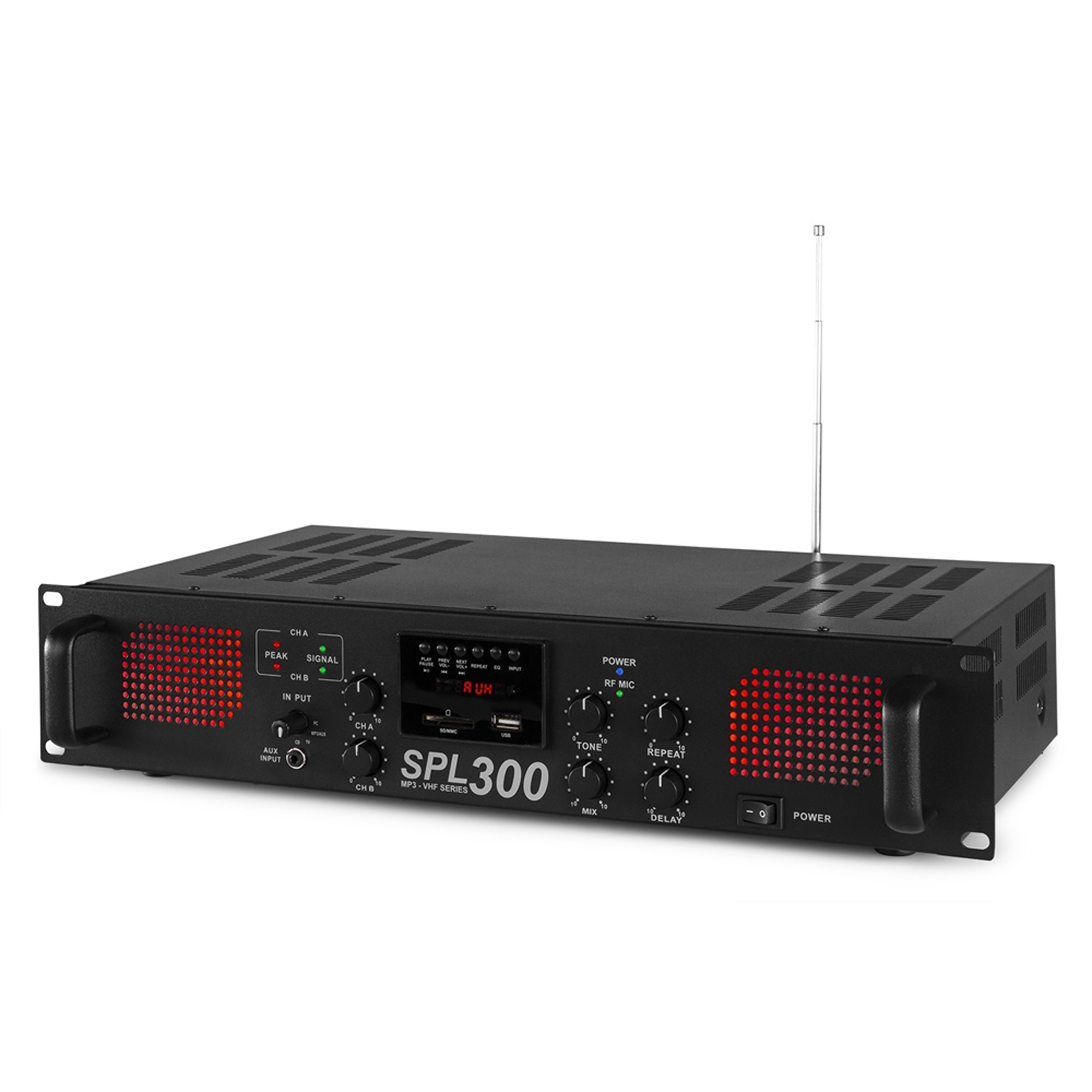skytec spl 300vhf power amplifier with wireless microphone 2 x 150w. Black Bedroom Furniture Sets. Home Design Ideas