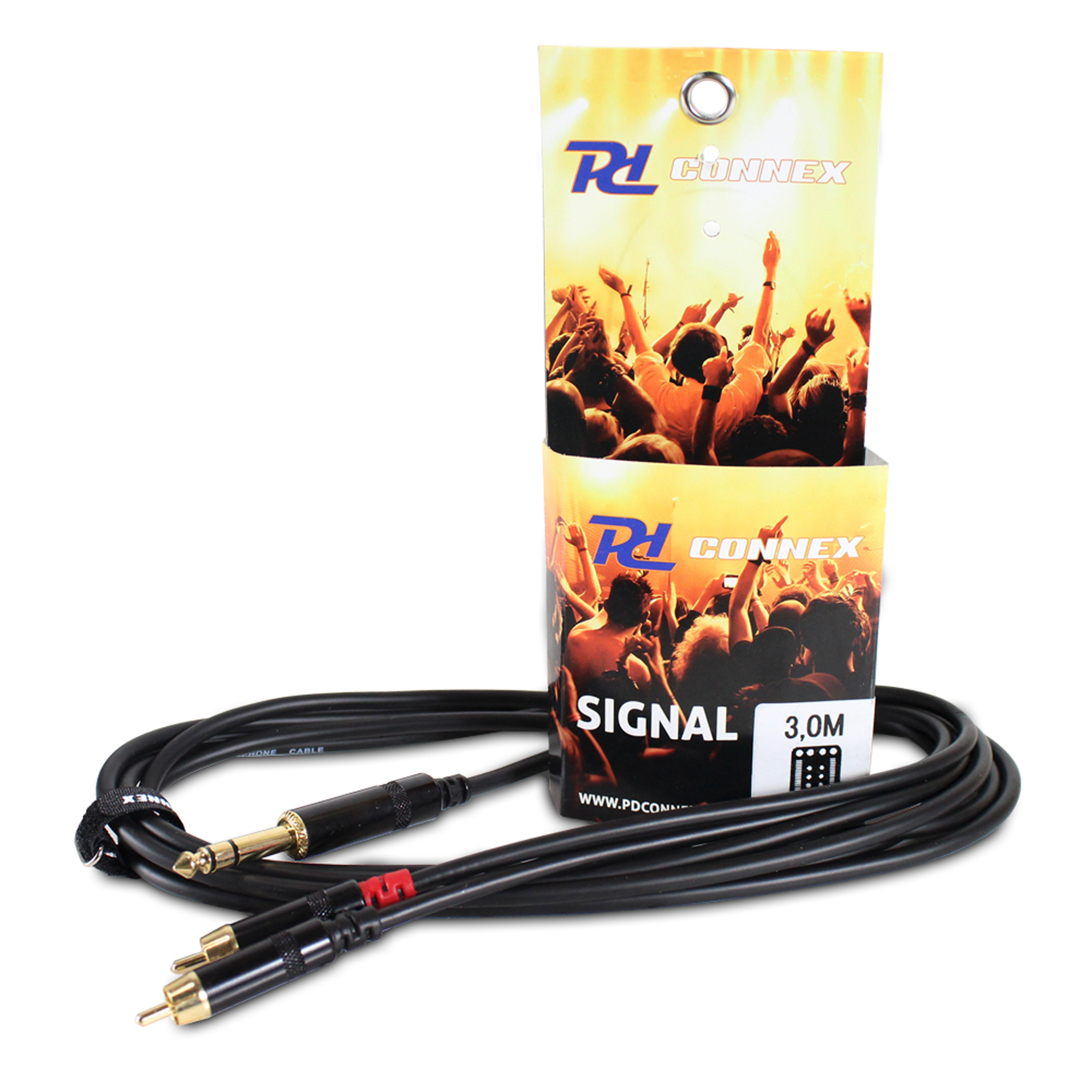 PD Connex 2x RCA Male - 6.35mm Stereo Jack 3M Cable