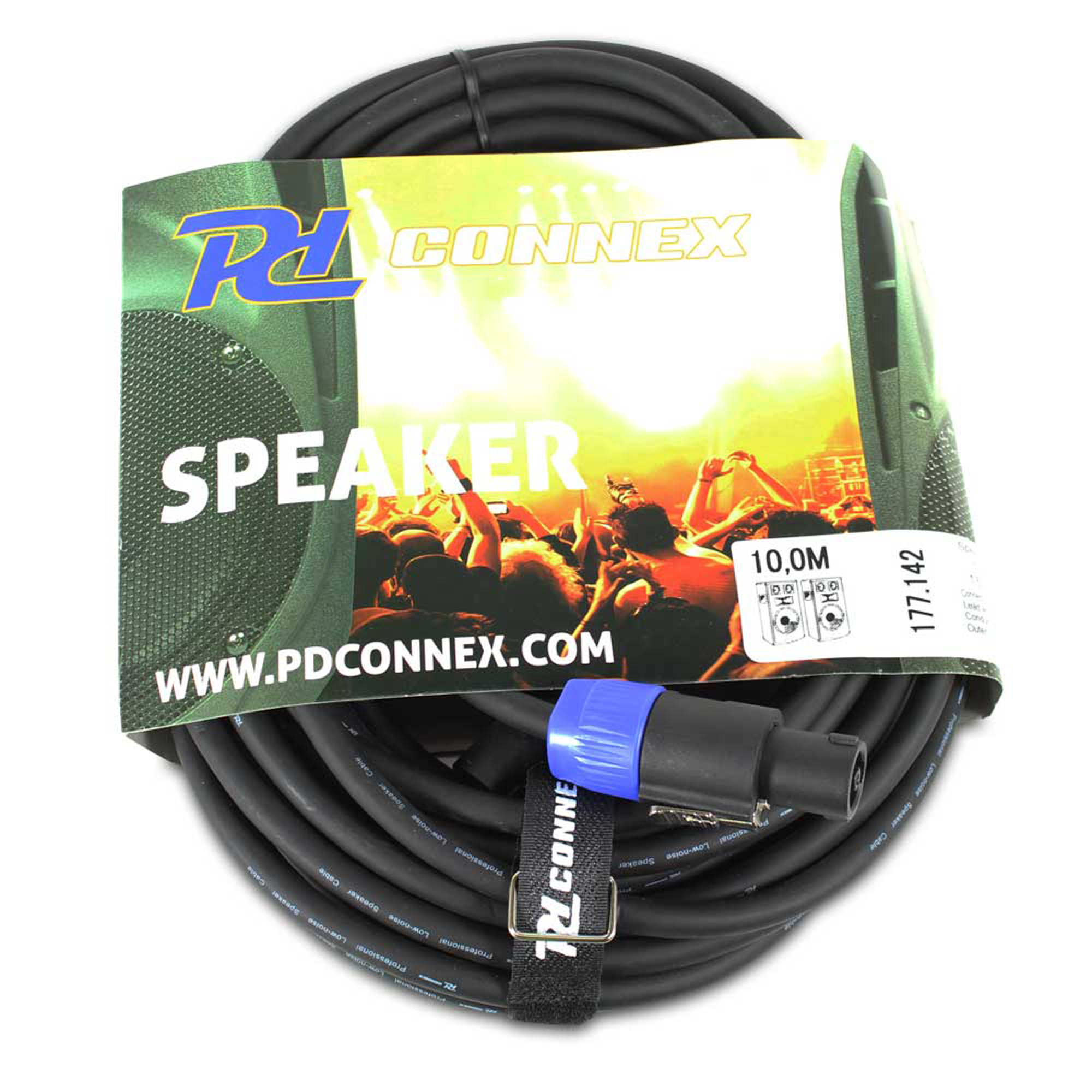 2x 10 meter speaker cables power dynamics professional lead hq l2 ends. Black Bedroom Furniture Sets. Home Design Ideas