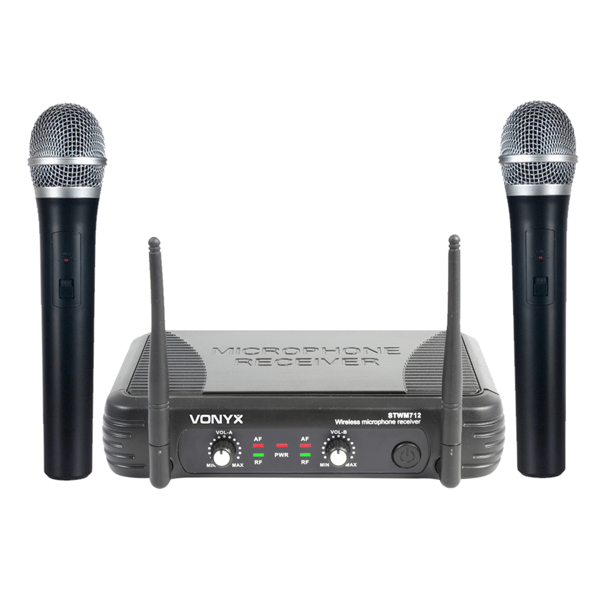 Vonyx STWM712 Wireless Handheld Microphone System, VHF 2-Channel