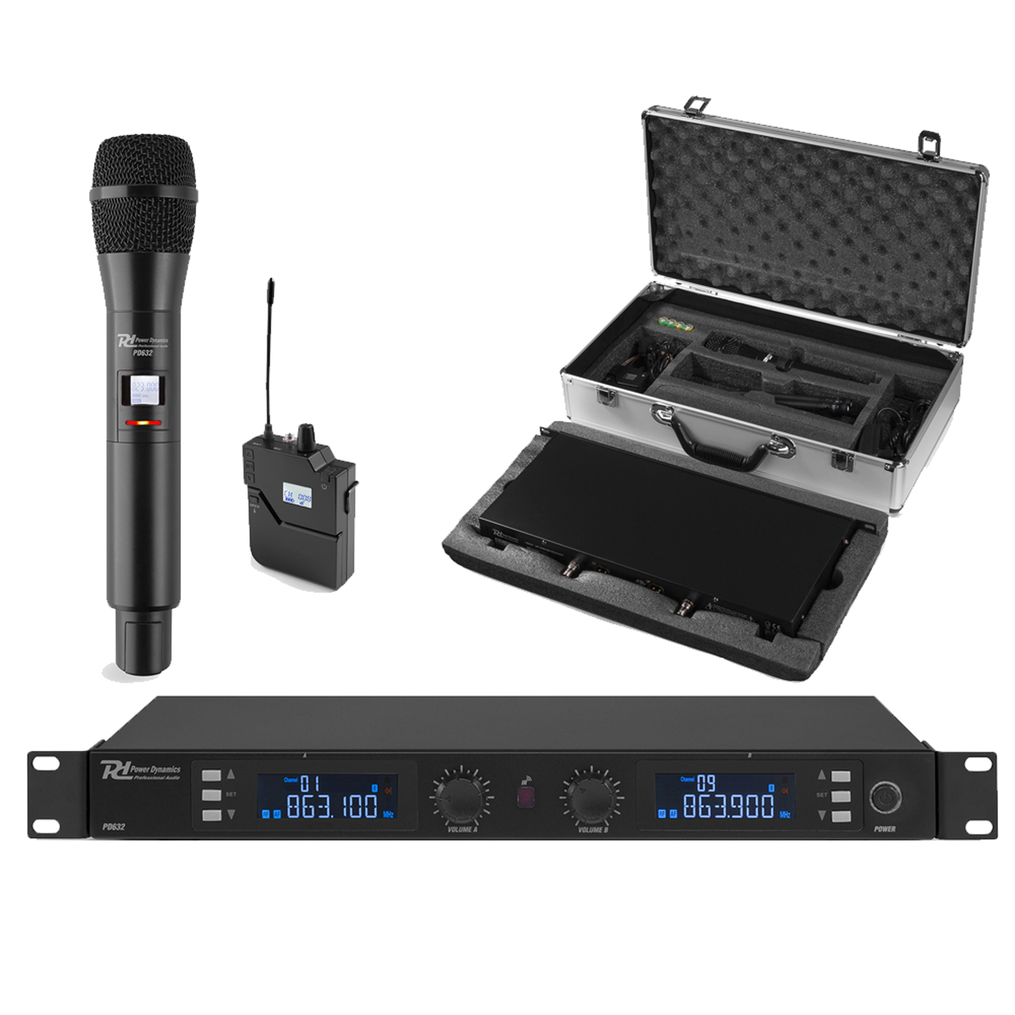 PD PD632C Wireless Handheld & Bodypack Microphone System (UHF 2-Channel)