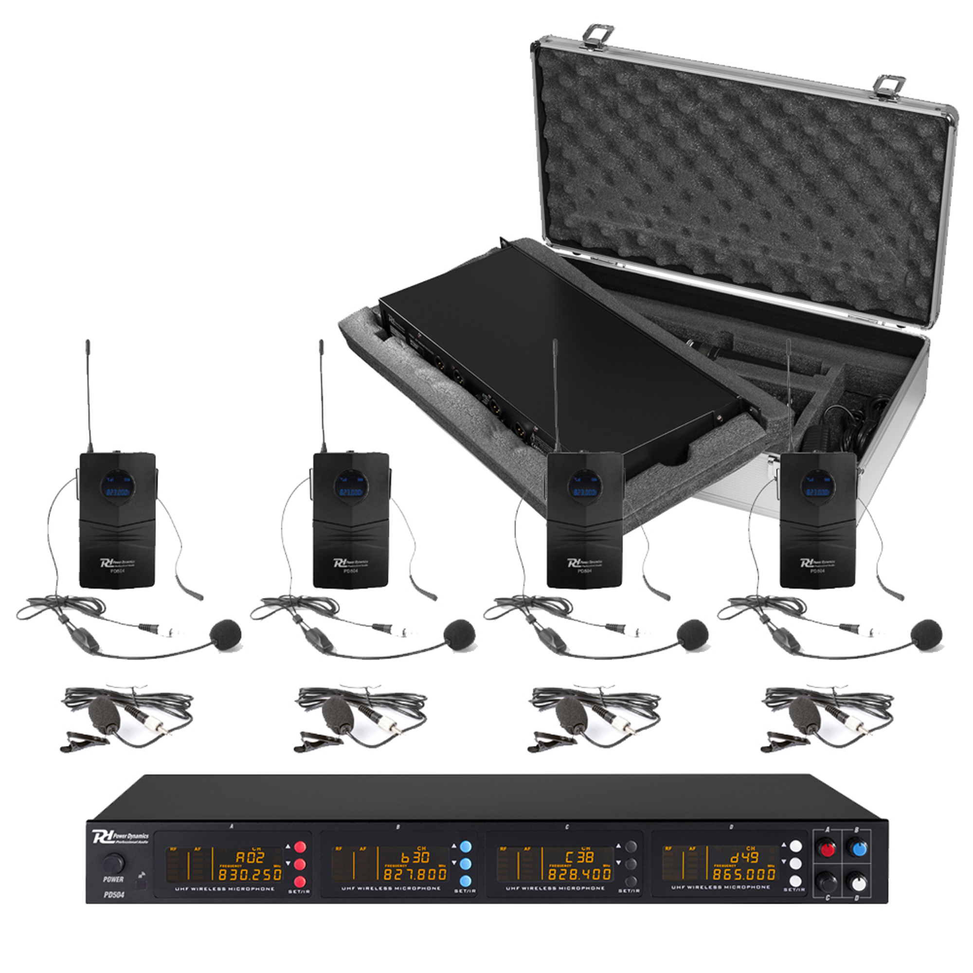 PD PD504B UHF Wireless Bodypack Microphone System, Set of 4