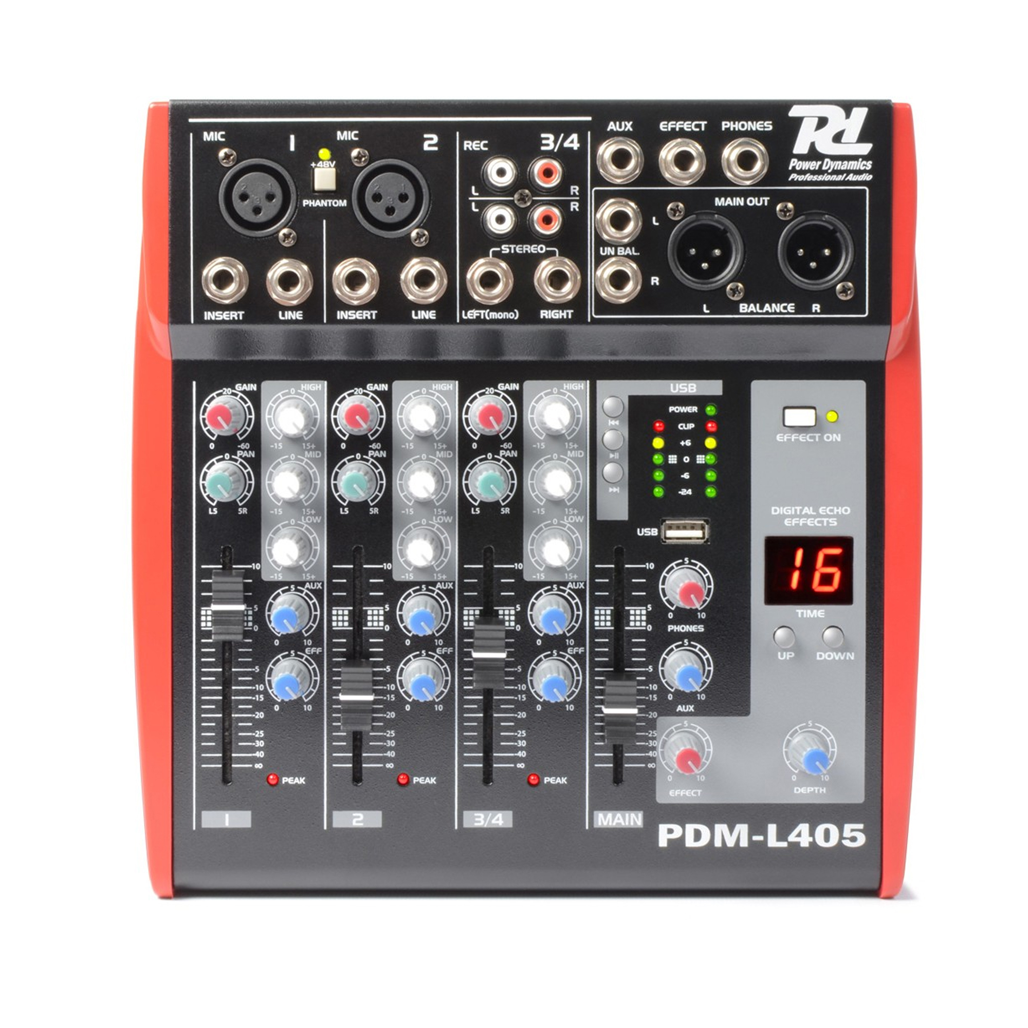 Power Dynamics PDM-L405 Music Mixer 4-Channel with MP3/ECHO