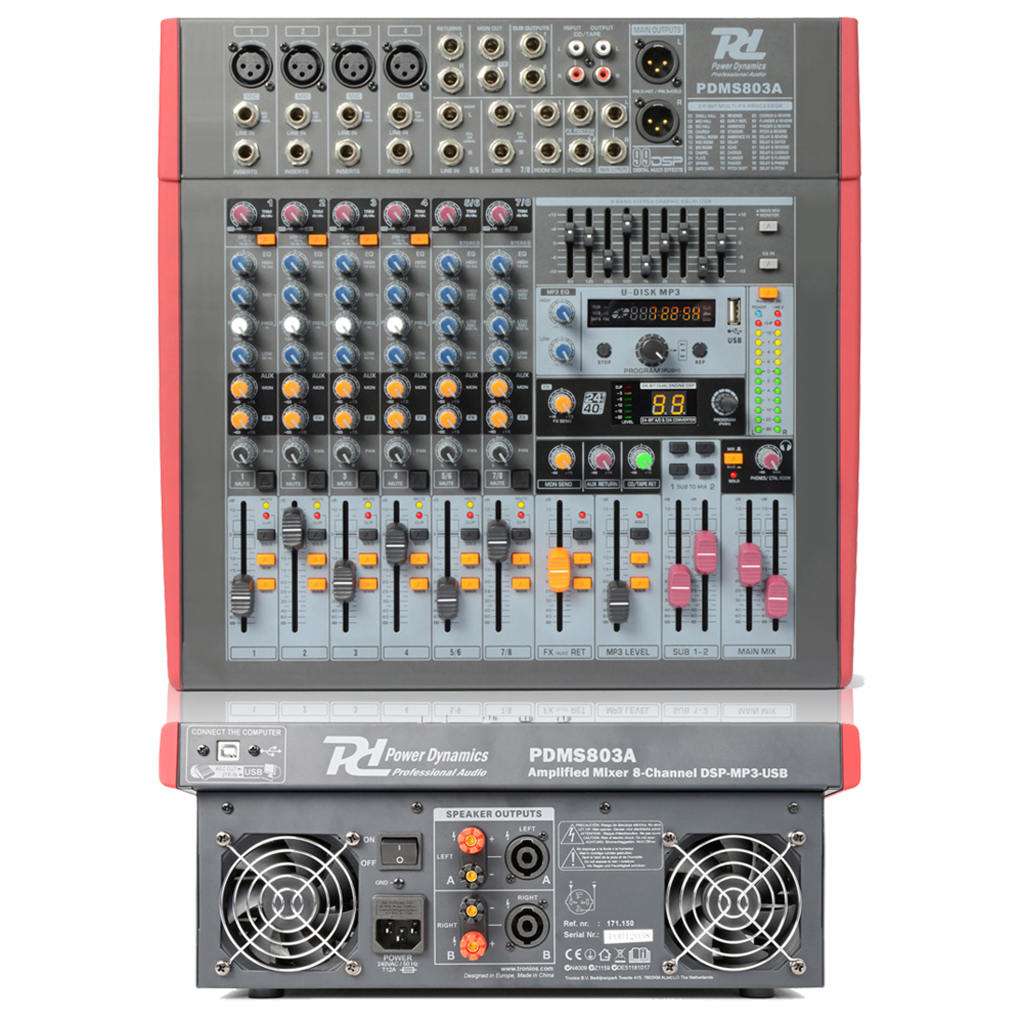 power dynamics pdm s803a amplified stage mixer 8 channel dsp effects usb 800w. Black Bedroom Furniture Sets. Home Design Ideas