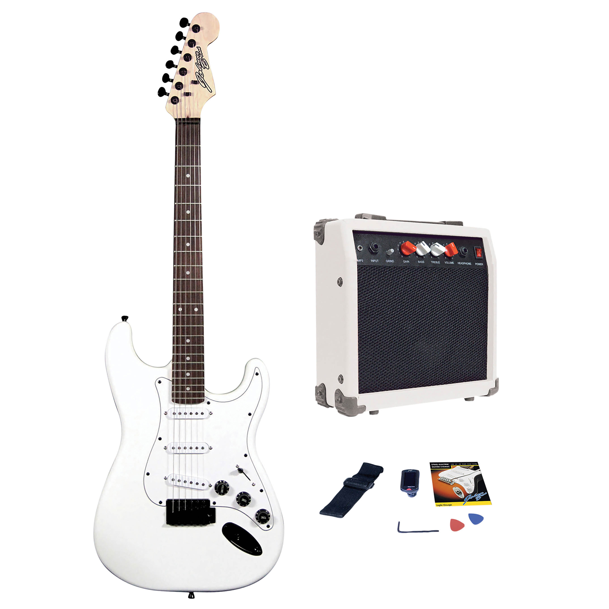 johnny brook jb402 standard guitar kit with coded combo amplifier white 20w. Black Bedroom Furniture Sets. Home Design Ideas