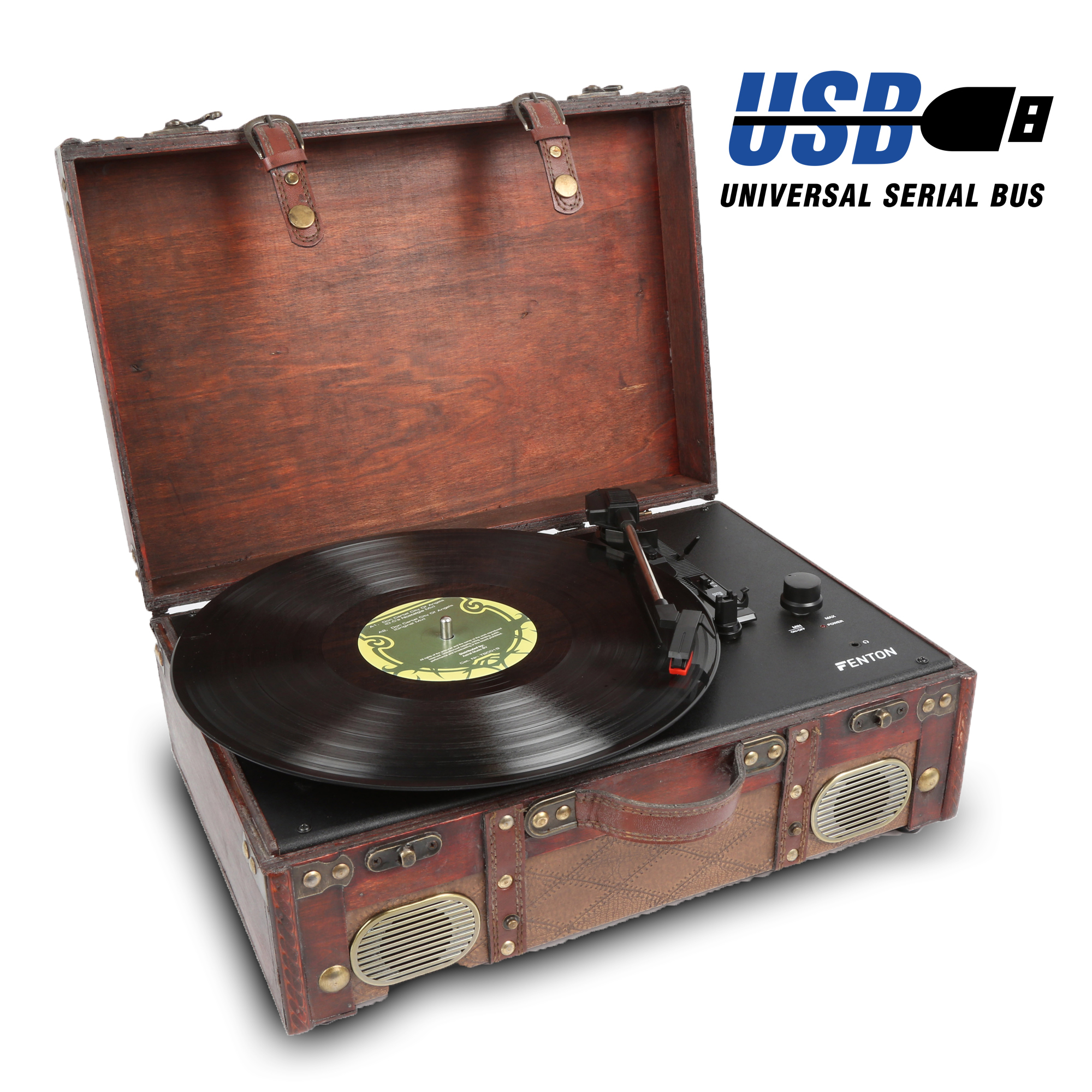 Leather Style Lp Record Player Hi Fi Stereo Speakers And