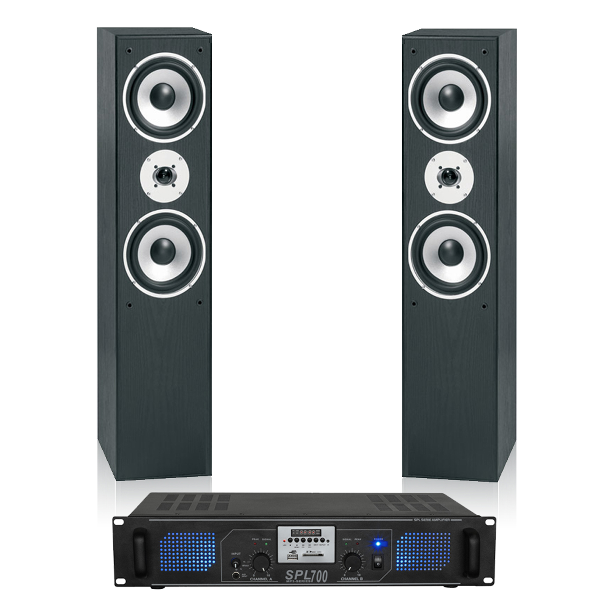 Skytronic Hifi Tower Stereo Speakers Mp3 Usb Sd Fm