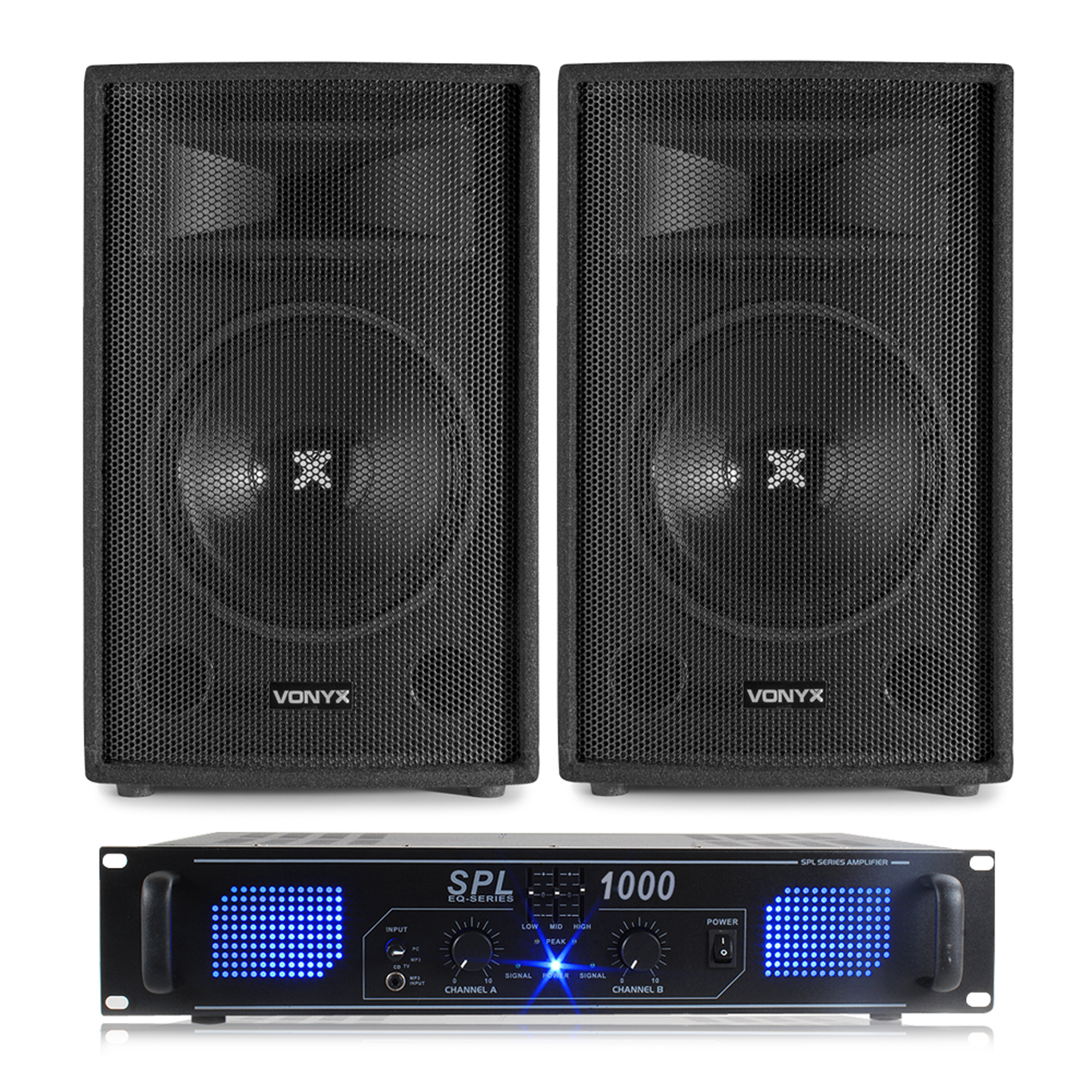 2x vonyx 12 inch speakers amplifier cables 1200w. Black Bedroom Furniture Sets. Home Design Ideas