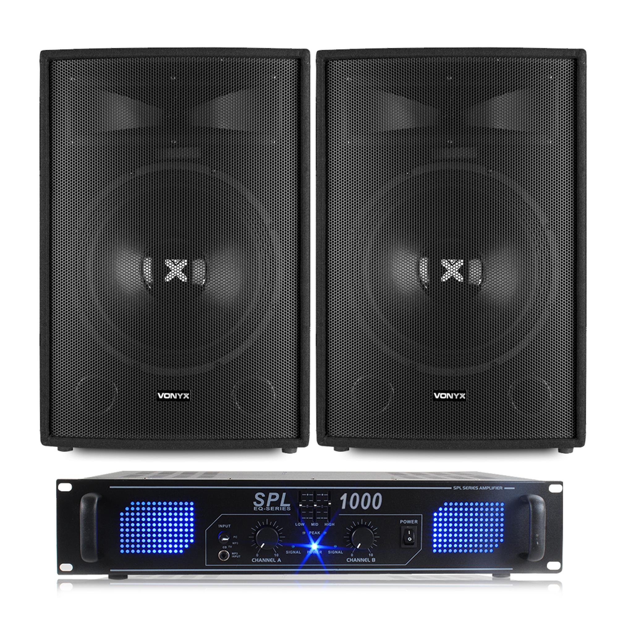 "Vonyx SL15 15"" Passive DJ Speaker & SPL1000 Amplifier"