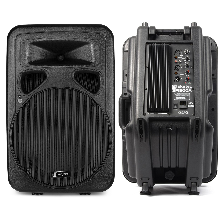 "Skytec SP1500A 15"" Active Karaoke DJ PA Speaker Pair"