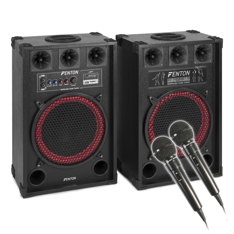 """Fenton 12"""" Powered Bluetooth Karaoke Speakers & Microphone Pair"""