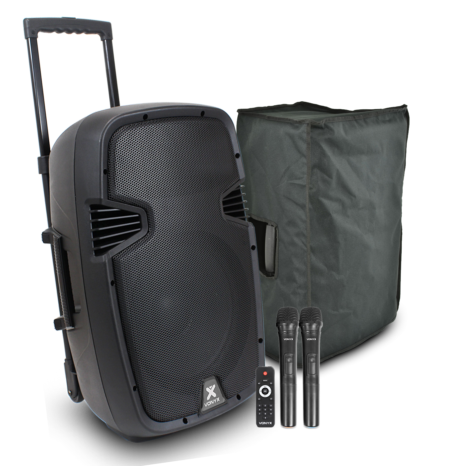 Vonyx SPJ-PA912 Portable PA System with Microphones & Speaker Cover