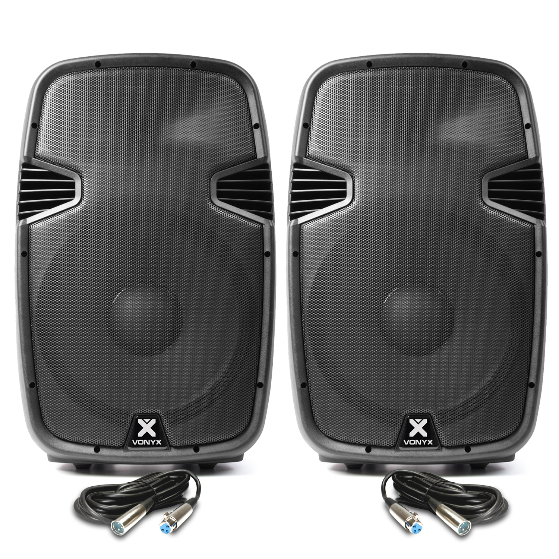 "Vonyx SPJ1500ABT 15"" Bluetooth Active PA Speaker Pair"