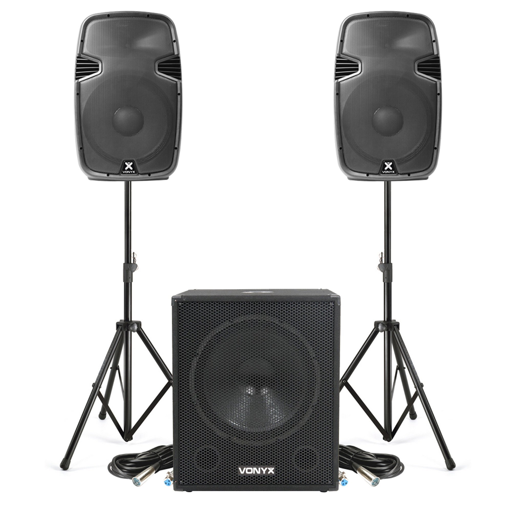 """Vonyx SPJ-1500A 15"""" Active PA Speaker Pair, SWA18 Subwoofer & Stands"""