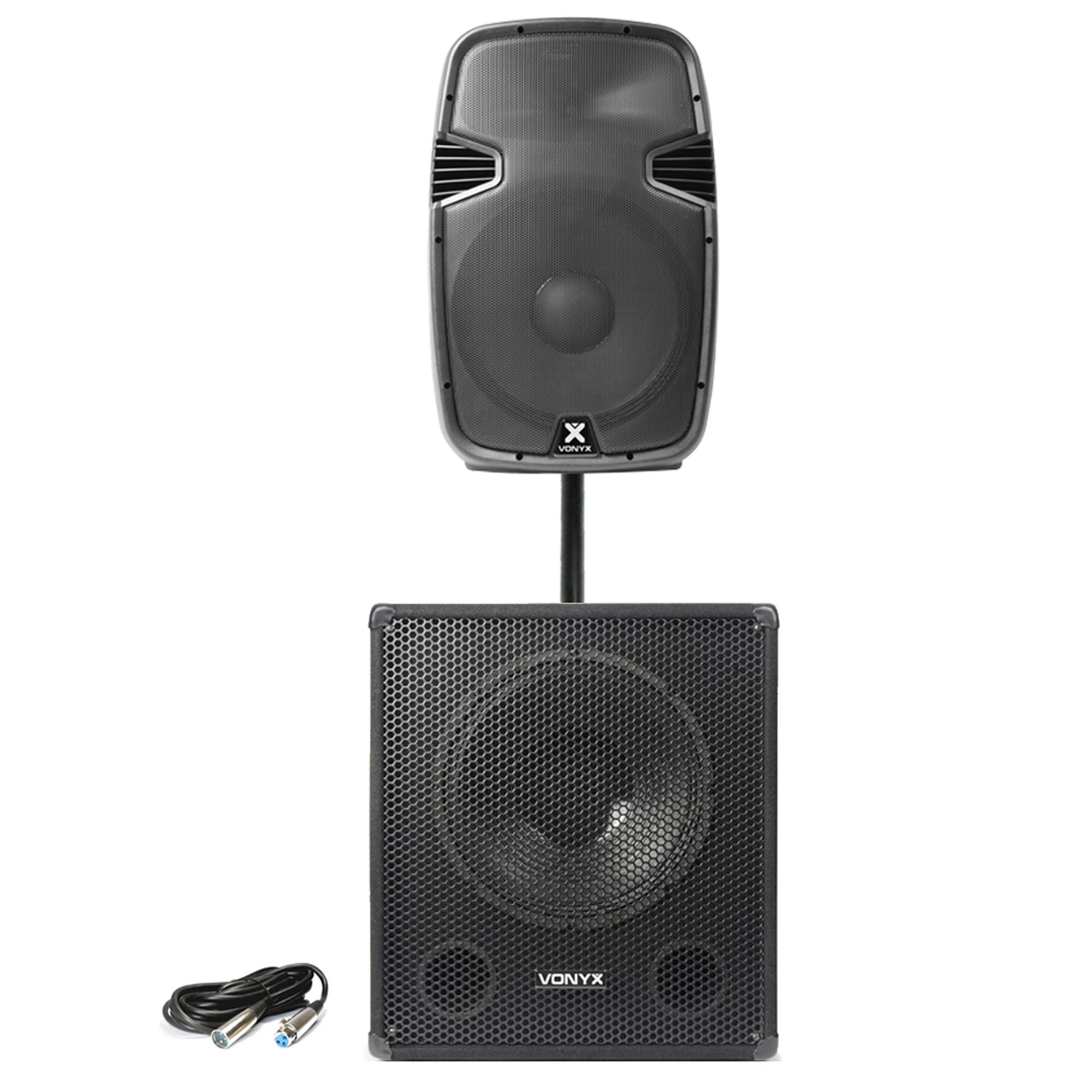 "Vonyx SPJ-1500A 15"" Active PA Speaker & SWA15 Subwoofer"