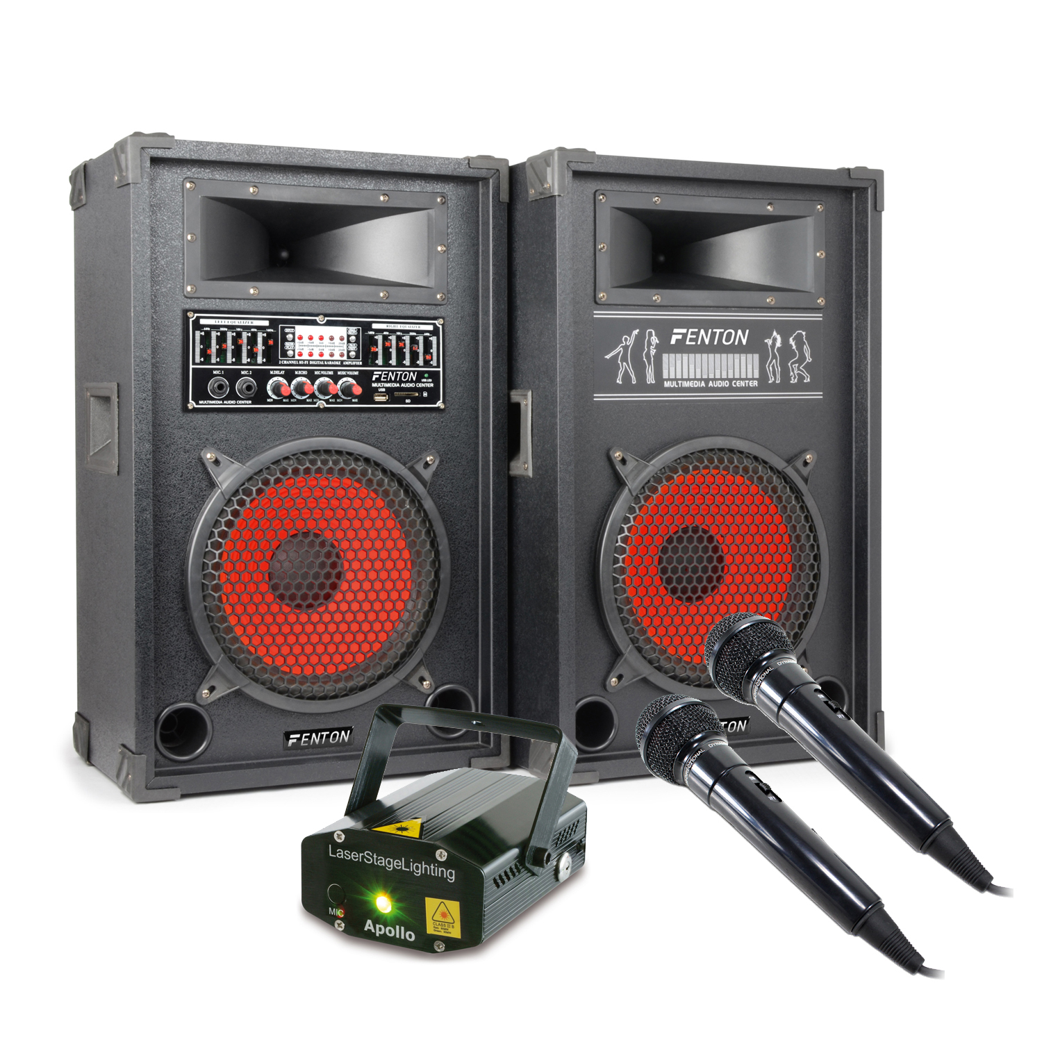 """Skytec SPA1000 10"""" Active Party PA Speaker Pair, Microphones & Laser"""