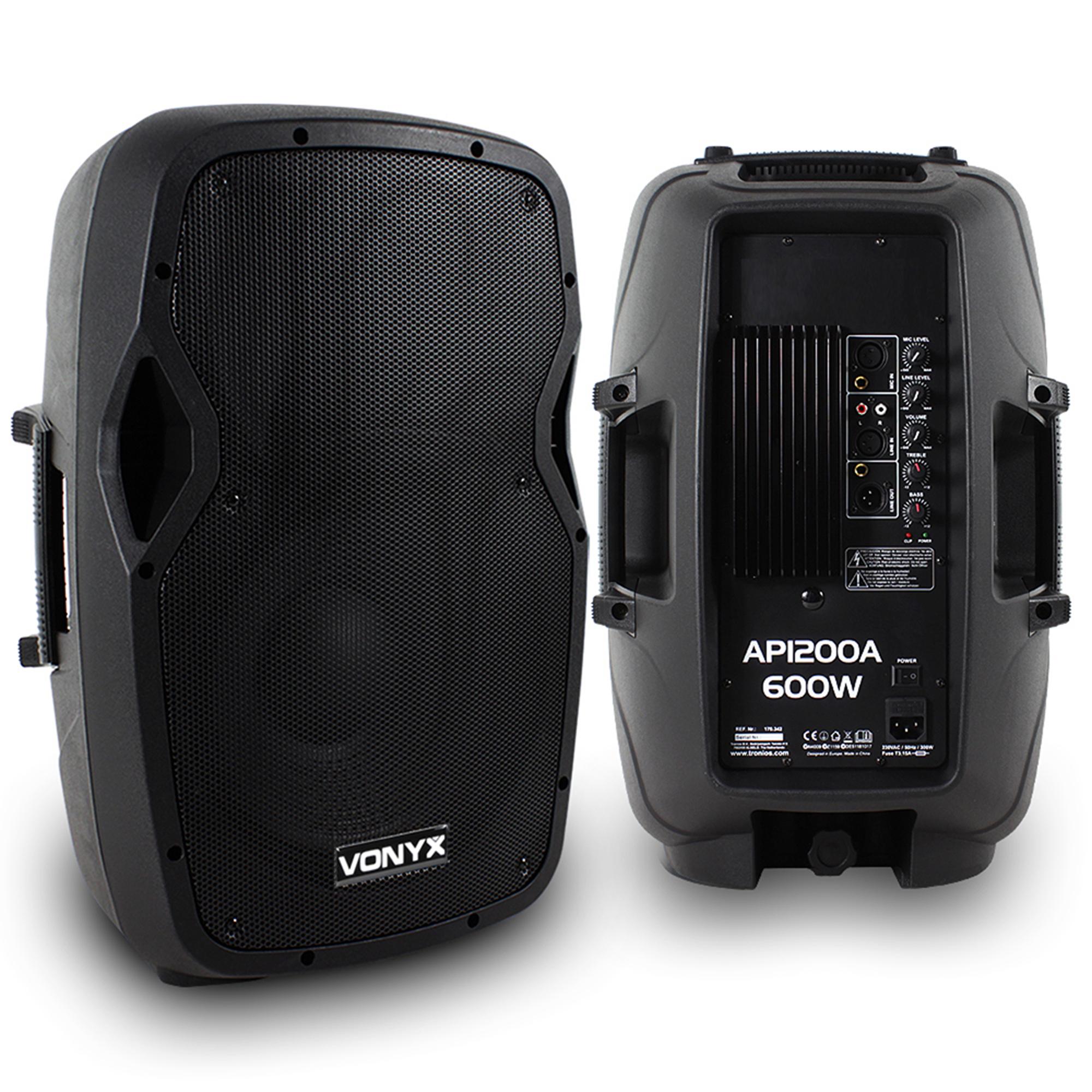 "Vonyx AP1200A 12"" Active PA Speaker Pair"