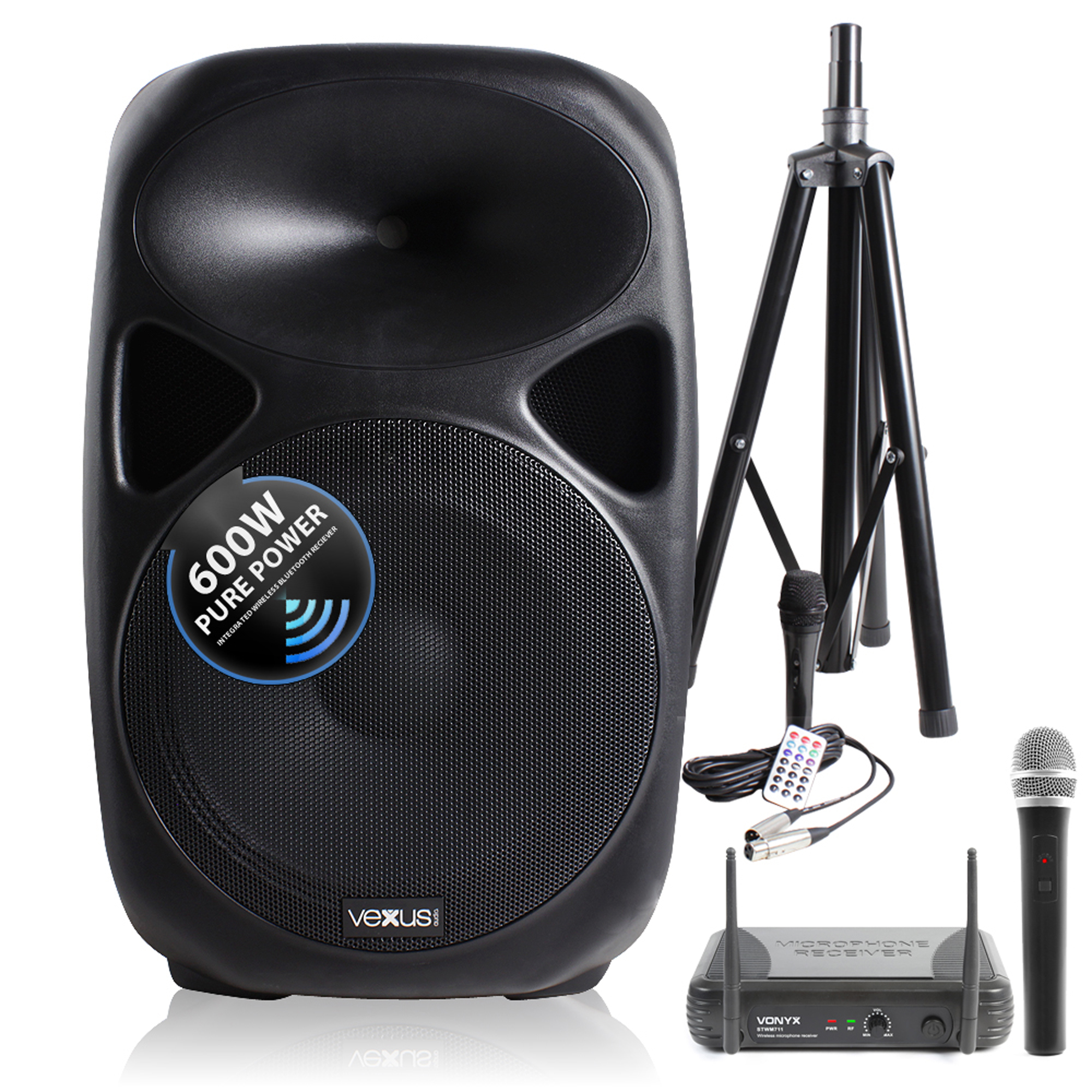 """Vonyx SPS152 15"""" Active Bluetooth PA System with Stand & Wireless Microphone"""